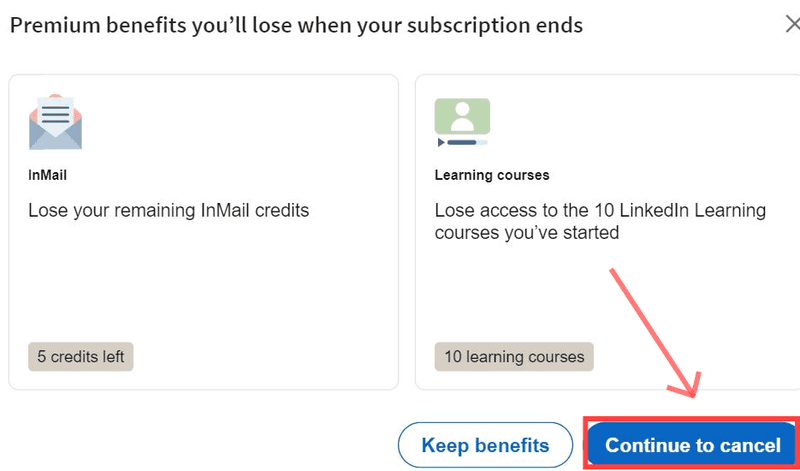 step 8 of how to cancel linkedin learning subscription