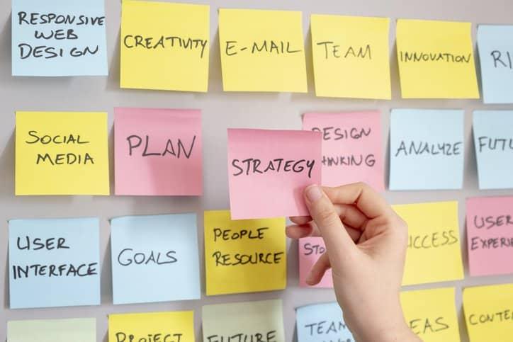 Marketing plan sticky notes concept