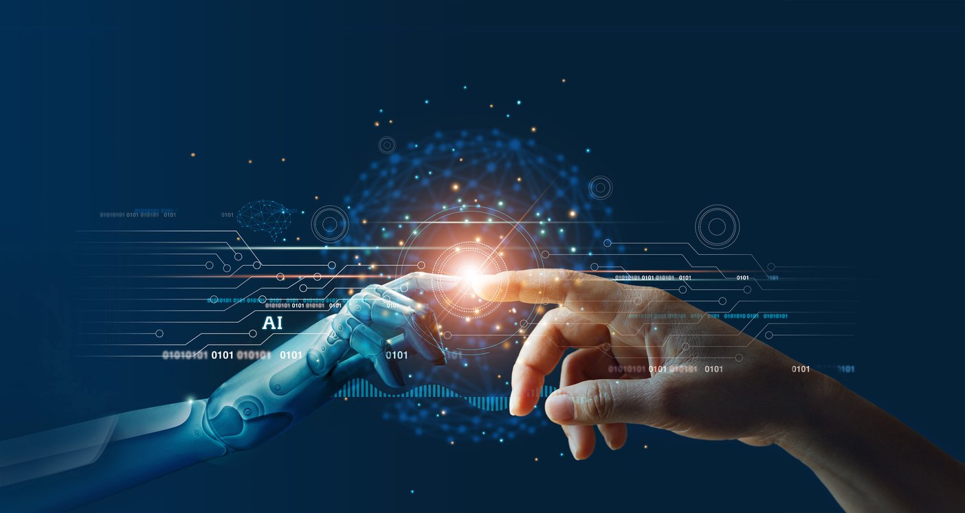 Hands of robot and human touching on big data network connection background