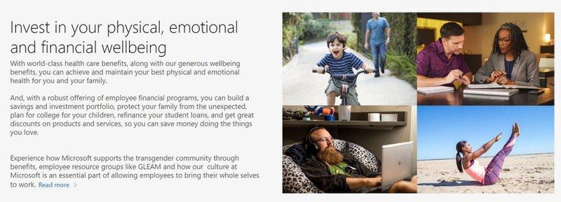Microsoft - Benefits page
