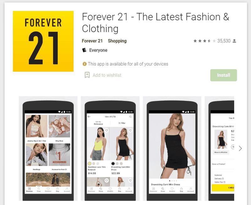 Forever 21 app - online channel partner
