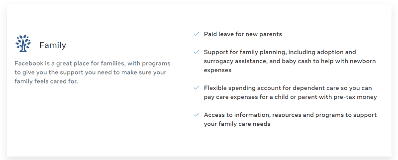 Facebook - Benefits page