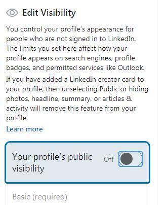 Hiding LinkedIn profile options