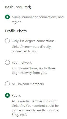 Hide certain  information on LinkedIn