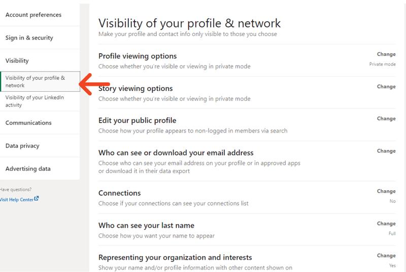 Choose visibility option in LinkedIn