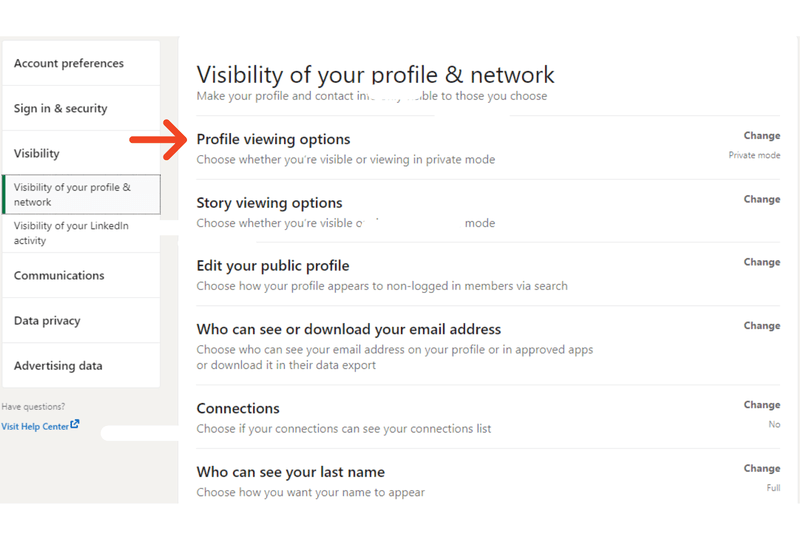 Visibility functions on LinkedIn