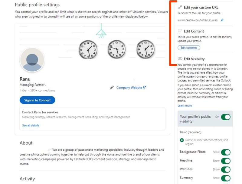 Hide LinkedIn profile options on LinkedIn
