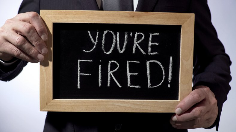 A fired signboard for a fireable employee